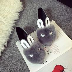 EMIL - 绒毛边饰兔耳平跟鞋