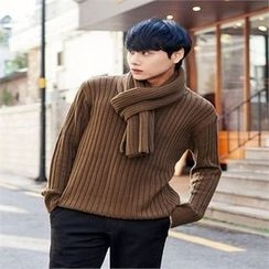 TOMONARI - Crew-Neck Rib-Knit Top with Scarf