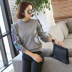 DANI LOVE - Fringed Sequine Sweater