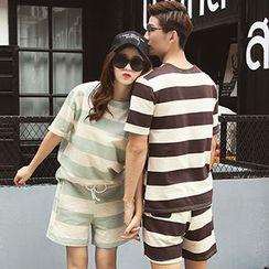 Azure - Couple Matching Set: Striped Short Sleeve T-Shirt + Shorts