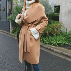 DABAGIRL - Wide-Lapel Wool Blend Wrap Coat with Sash