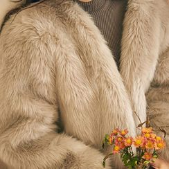 chuu - Open-Front Faux-Fur Jacket