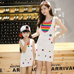 Azure - Family Matching Set: Color Striped Cross Strap Dress + Pinafore Dress
