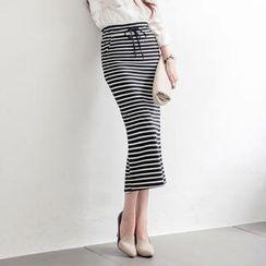 Tokyo Fashion - Drawcord-Waist Striped Pencil Skirt