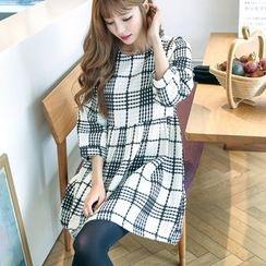 Angel Shine - 3/4 Sleeve Plaid Mini Dress