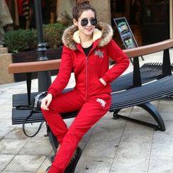 AiSun - Set: Faux Fur Trim Hoodie + Sweatpants
