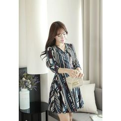 MyFiona - 3/4-Sleeve Patterned Surplice-Wrap Dress