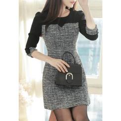 MyFiona - 3/4-Sleeve Tweed-Panel Mini Dress