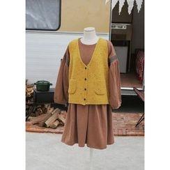 GOROKE - Buttoned Mélange Wool Blend Knit Vest
