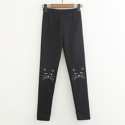 ninna nanna - Embroidered Cat Fleece-lined Pants