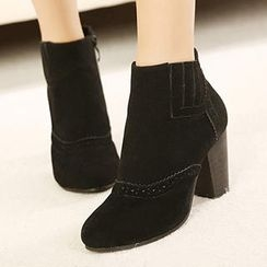 Mancienne - Faux-Suede Perforated Ankle Boots