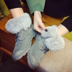 SouthBay Shoes - Faux Fur Trim Lace-Up Short Boots
