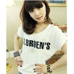 Oaksa - Short-Sleeve Lettering T-Shirt