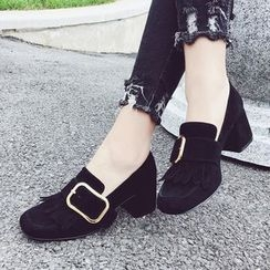 SouthBay Shoes - Fringed Loafer Pumps