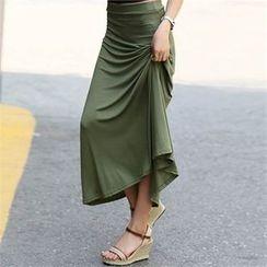 CHICFOX - Band-Waist Long Skirt