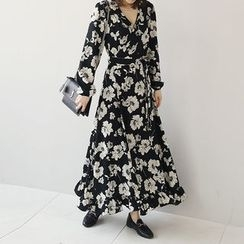 NANING9 - Floral Pattern A-Line Maxi Wrap Dress
