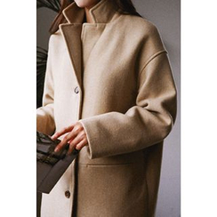 CHERRYKOKO - Single-Breasted Wool Blend Coat