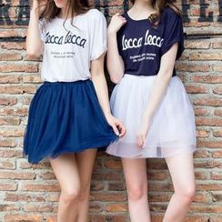Jolly Club - Set: Short-Sleeve Lettering T-Shirt + Mesh Skirt