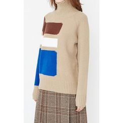 Someday, if - Turtle-Neck Color-Block Knit Top
