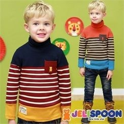 JELISPOON - Kids Turtle-Neck Striped Brushed-Fleece Top