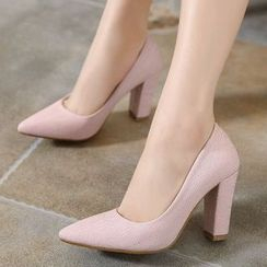 Anran - Chunky Heel Pointy Pumps