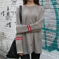 CHICFOX - Raglan-Sleeve Contrast-Trim Sweater