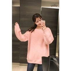 CHERRYKOKO - Round-Neck Wool Blend Sweater
