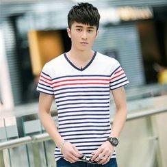 SOLER - Stripe V-neck Short-Sleeve T-shirt