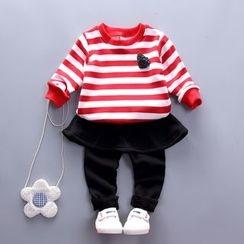 POMME - Kids Set: Striped Sweatshirt + Fleece Lined Leggings