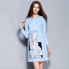 Cherry Dress - Long-Sleeve Print A-Line Dress