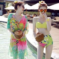 Sweet Splash - 套裝: 高腰比基尼 + 泳裝外罩