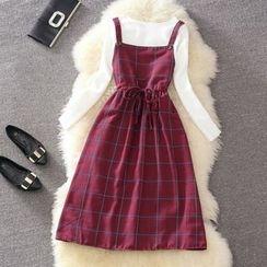 Clementine - 套裝: 純色長袖上衣 + 格紋背帶裙
