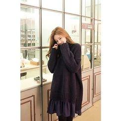 CHERRYKOKO - Mock-Neck Dip-Back Wool Blend Sweater