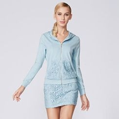 O.SA - Set: Crochet-Panel Hoodie + Pencil Miniskirt