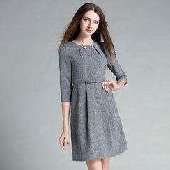 Cherry Dress - 3/4-Sleeve Tie Waist Dress