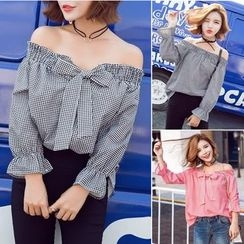Whitney's Shop - Gingham Bow Off-shoulder Top