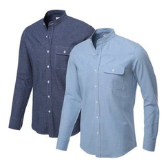 Seoul Homme - Mandarin-Collar Denim Shirt