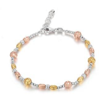 MaBelle - 18K Tri Color White Rose Yellow Gold Assorted Diamond-Cut Beads Bracelet (6.5')