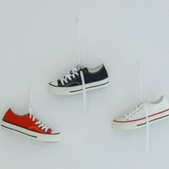 JUSTONE - Contrast-Trim Lace-Up Canvas Sneakers
