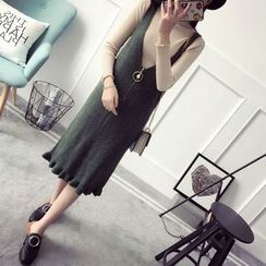 Poppy Love - Frill Hem Knit Pinafore Dress