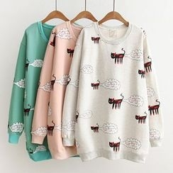 Maymaylu Dreams - Fleece-Lined Cat Printed Pullover