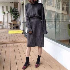 Parc - Set: High Neck Long-Sleeve Top + Midi Skirt