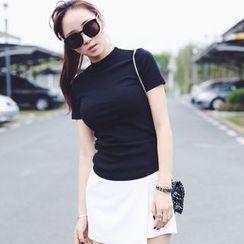 XGZ - Mock-Neck Short-Sleeve Elastic T-Shirt