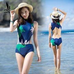 SANQI - Cutout Floral Print Swimsuit