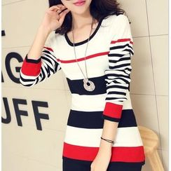anzoveve - Striped Knit Top
