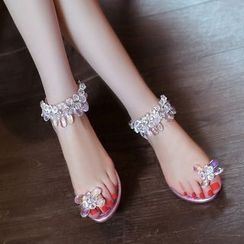 Charming Kicks - Embellished Toe Loop Sandals