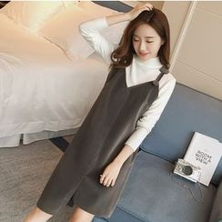 Mandalle - V-Neck Asymmetric Pinafore Dress