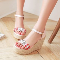 Charming Kicks - Embellished Ankle Strap Espadrille Wedges