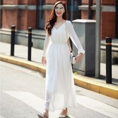 Lovi - Plain Long Sleeve V-Neck Maxi Dress