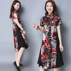 Diosa - Floral Print Short-Sleeve Stand-collar Dress